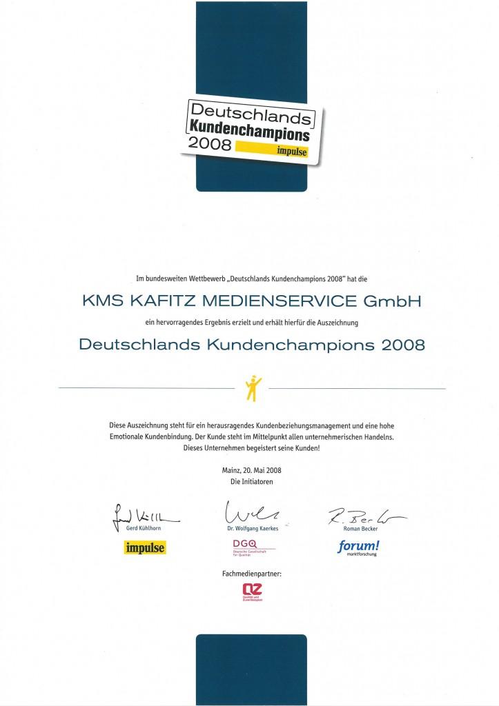 Kundenchampions 2008 Auszeichnung