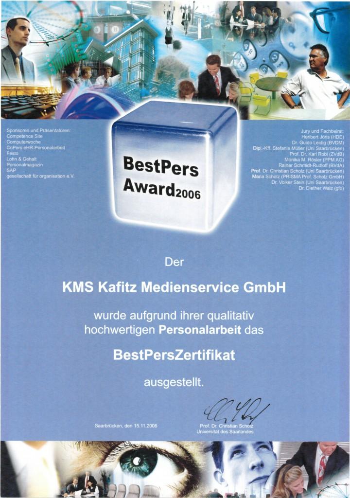 Best Pers Award 2006 Auszeichnung