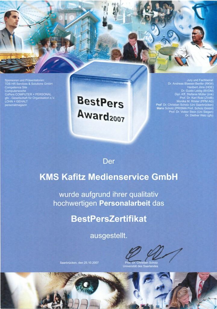 BestPers Award 2007 Auszeichnung