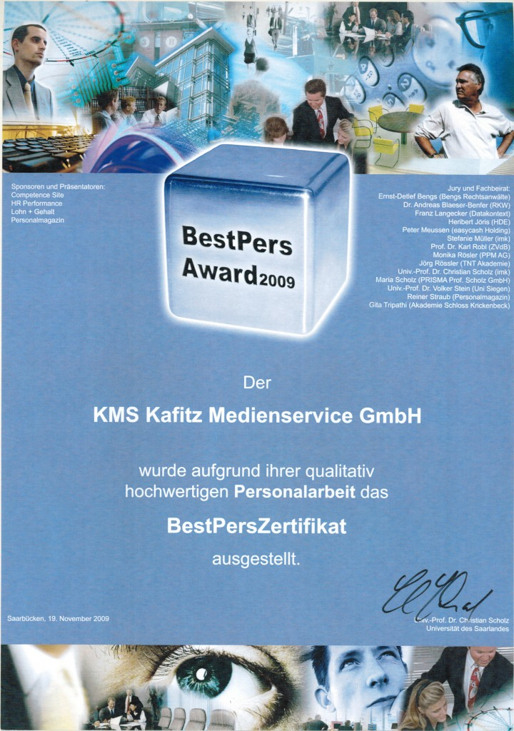 BestPers Award 2009 Auszeichnung